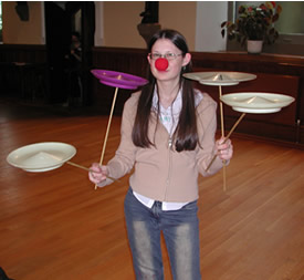 Amy showing us how to hold 4 Spinning Plates!