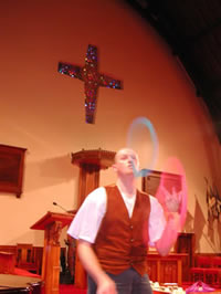 Steve the Juggler performing his Gospel Juggling routines