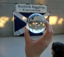 The view of the Scottish Saltire flag through an Acrylic Contact Ball!