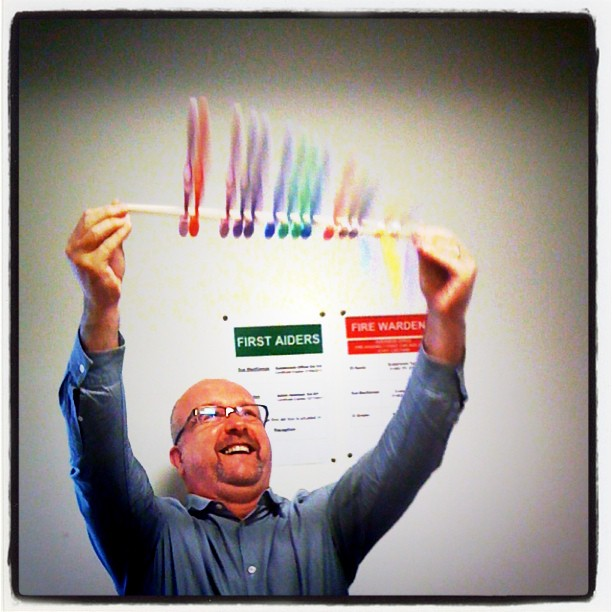 A happy Toothbrush Twirling Chief Executive!