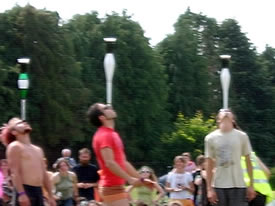 At the European Juggling Convention in Ireland, the Club balance competition had added difficulty as pints of guiness were put on top!