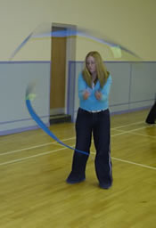Stirling Juggling Project's Emma showing us how to poi spin!