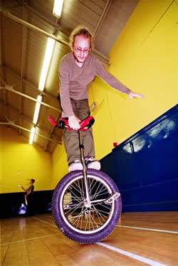 Stirling Juggling Project's Ewan Colsell demonstrating the Unicycle